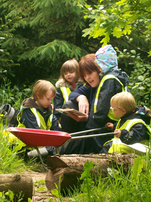 Holmsdale Manor Nursery Ibstock Staff at forest school